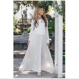 Pinkblush Ivory Off Shoulder Maternity Dress,small